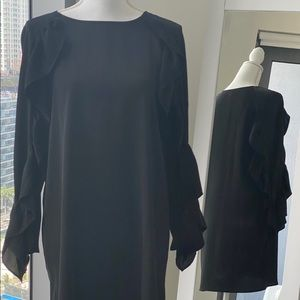ZARA Satin Black Ruffle Sleeve Dress Size S